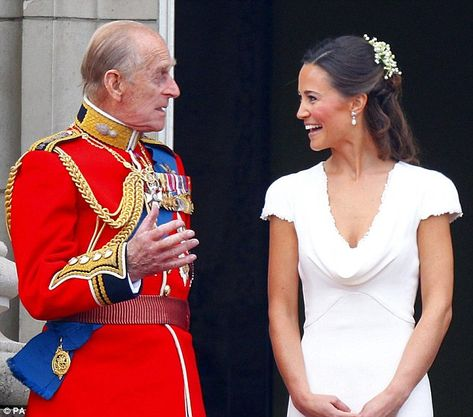 4/29/2011: Prince Phillip, Duke of Edinburgh & Pippa Middleton on the Royal Balcony following the Royal Wedding