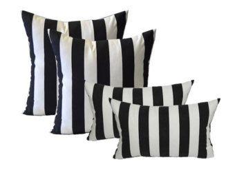 Sunbrella Cabana rayas blanco y negro cojines para Patio al