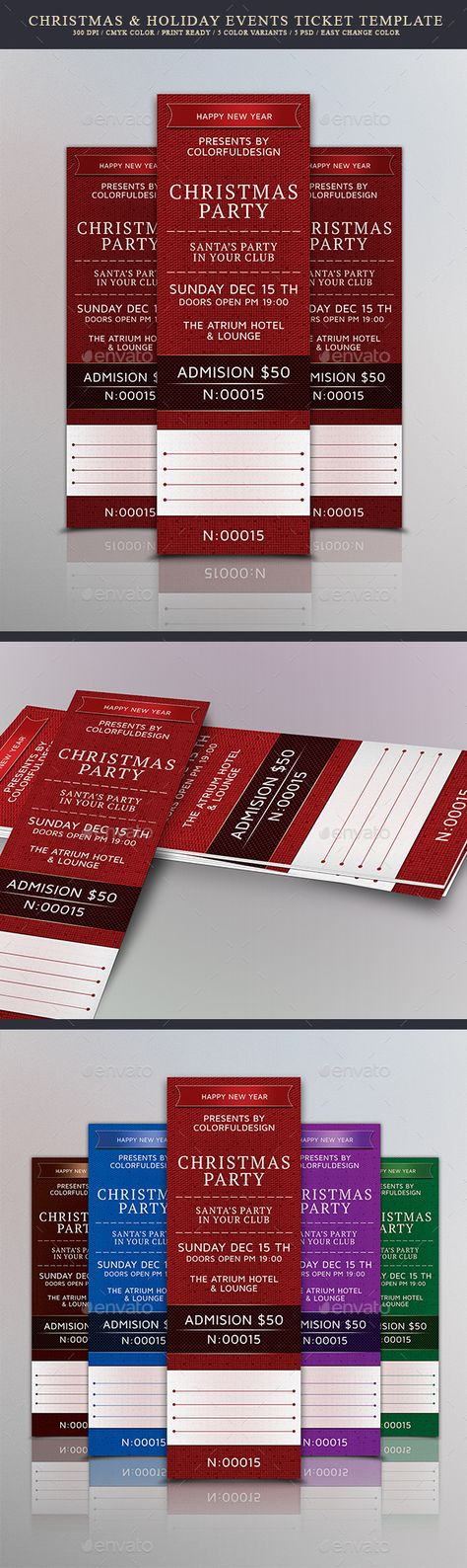 Christmas \ Holiday Events Ticket Template Ticket template - event tickets template