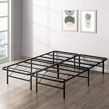Metal Bed Frame Queen, Bed Frame Box Spring Queen Folding Metal Mattress Foundation