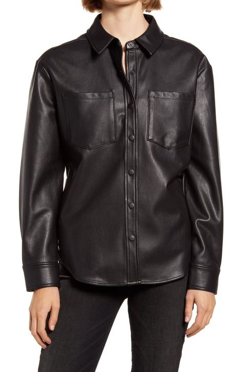 Treasure  Bond Faux Leather Shirt