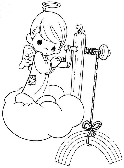 Printable 17 Precious Moments Angel Coloring Pages 7329 Precious