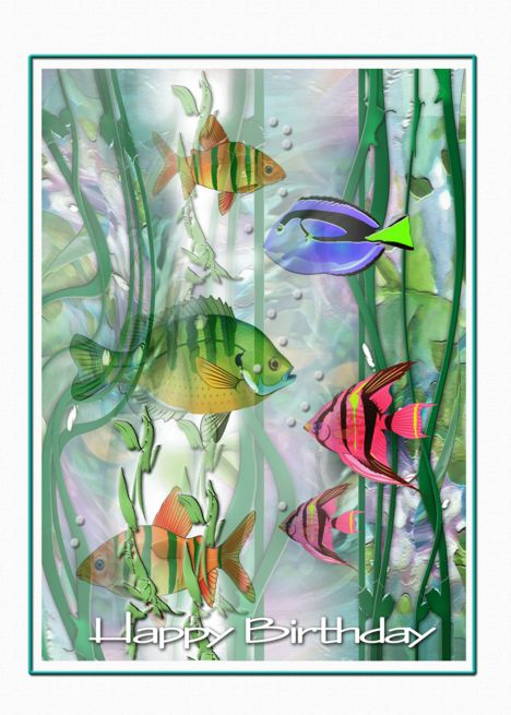 Birthday Tropical Fishes Colorful Birthday Art Card Watercolor