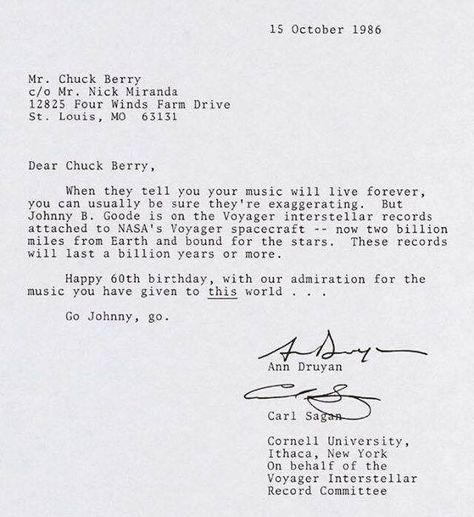 Carl Saganu0027s letter to Chuck Berry - spaceship Interesting - admiration letter