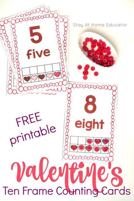FREE Valentine's Day Ten Frame Math Counting Cards - Teach ten frame math in a fun way with these free printable Valentine's Day counting cards.