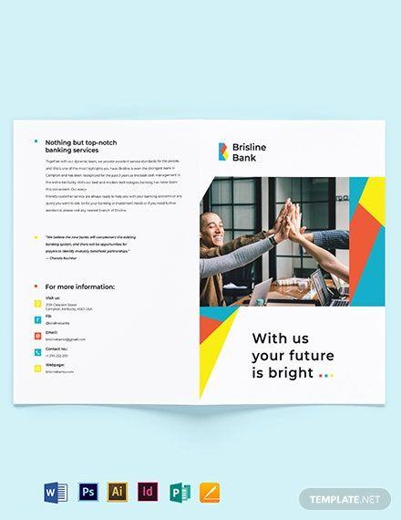 Business Banking Bi Fold Brochure Template Free Publisher Illustrator Indesign Word Apple Pages Psd Template Net Free Brochure Template Bi Fold Brochure Brochure - ms word pamphlet template