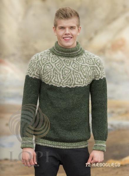 Icelandic Haed Og Laegd Mens Wool Sweater Green Tailor Made