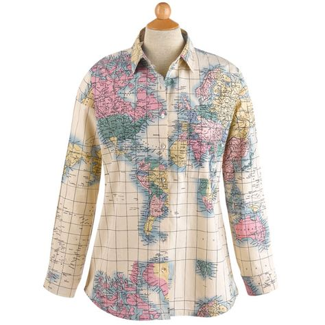 World Map Button Down Shirt.World Map Blouse Classic Button Front Style In 2018 Tops Shirts