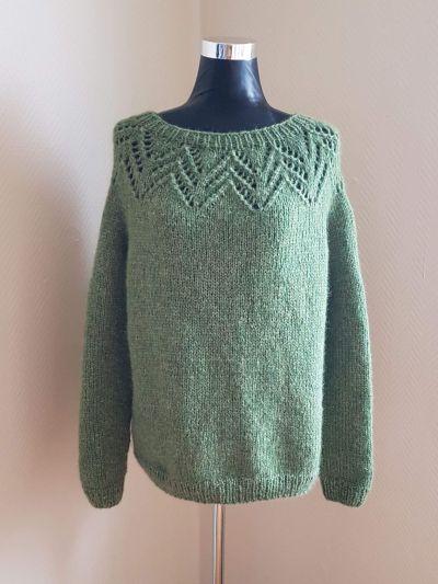 Eplegrønn Strikket genser i ullblanding | Dame | Genser på