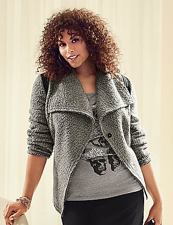 Boiled wool jacket tops off chilly days with a deliciously cozy texture and on-trend moto details. Oversized lapels and contrasting trim at shoulders and pockets add interest to the unique cross-over silhouette. Snap closure.  lanebryant.com