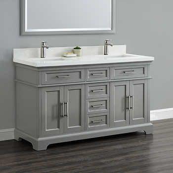 Cameron 60 Double Sink Vanity By Mission Hills Quartz Countertop And Backsplashmade Of Hardwoods And W Double Sink Vanity Small Double Sink Vanity Vanity Sink