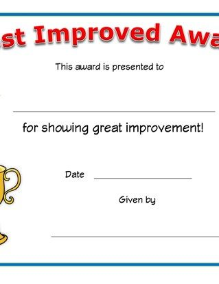 Most Improved Student Award Certificate Template Free 1 Student Certificates Student Awards Certificates Certificate Template
