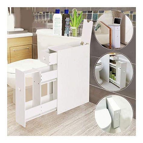 Narrow Wood Floor Bathroom Storage Cabinet Holder Organizer Bath
