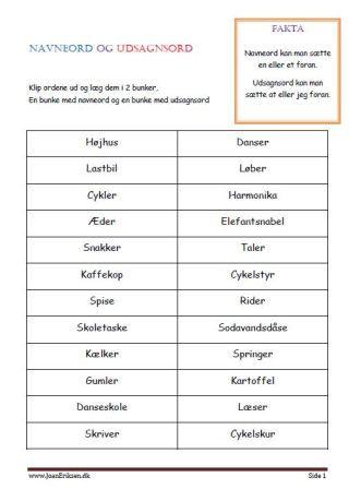 Dansk Ordklasser Navneord Matematikopgaver Dansk
