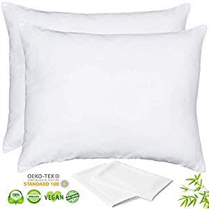 Luxurious 156gsm Lyocell Bamboo Pillowcase Set Of 2 Pillow Cases Queen 20x30 Inches White With Hidden Silk Pillowcase Hair Bamboo Pillowcase Stay Cool Pillow