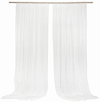 Amazon Com Ling S Moment 10 Feet X 10 Feet White Sheer Backdrop Curtains For Wedding Cere Wedding Ceremony Backdrop Wedding Ceremony Arch Backdrop Decorations
