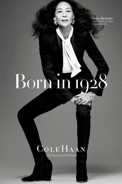 China Machado, 85. Footwear brand Cole Haan is celebrating its 85th birthday with a series of photos of 85-year-olds. The Born in 1928 campaign images show icons who are all the same age as Cole Haan.
