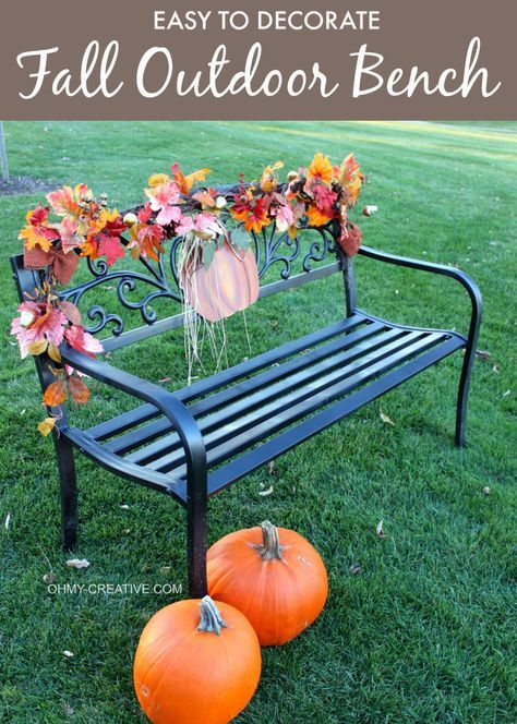 Easy To Decorate Fall Outdoor Bench Fall Outdoor Decor Fall