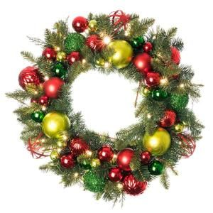 National Tree Company 30 In Battery Operated Decorative Collection Tartan Plaid Wreath With Warm White Led Lights Dc13 147 30wb The Home Depot Artificial Christmas Wreaths Christmas Wreaths Battery Operated Christmas Wreath