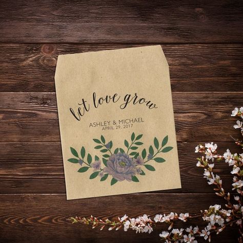 Wedding Seed Packets, Let Love Grow, Purple #seedpackets #weddingfavors #weddingseedfavor #letlovegrow #weddingseedpackets #rusticwedding #plantfavor #seedpacketfavors #personalizedfavor #seedpacketfavor #customseedpacket #flowerseedpackets #peonyfavor