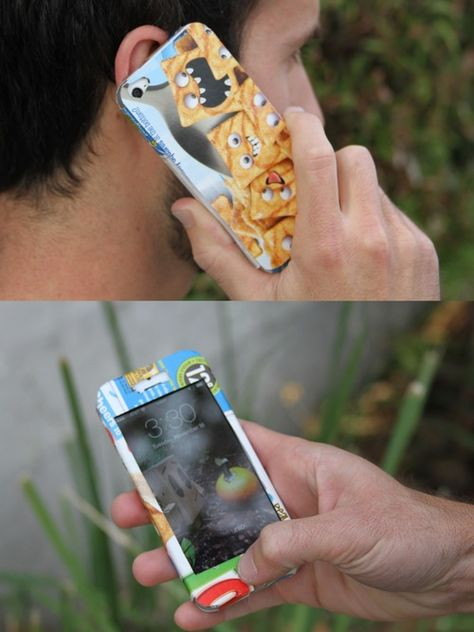 Cardboard Guys Super Cereal iPhone 5 Case --- template to make your own iphone case from a CEREAL BOX!