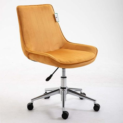 Cherry Tree Furniture Cala Mustard Yellow Colour Velvet Fabric Desk Chair Swivel Chair With Chrome Base Desk Chair Comfy Swivel Chair Desk Chair