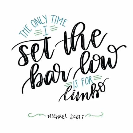 Handlettering using iPad for The Office Quote - The Only Time I Set The Bar Low is For Limbo #darbysmart #diy #calligraphy #moderncalligraphy #brushcalligraphy #brushlettering #handlettering #handwritingtips #ipadlettering #theoffice #funnyquotes