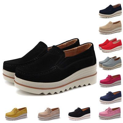 Womens Suede Leather Slip on Comfort Wedge Loafers Platform