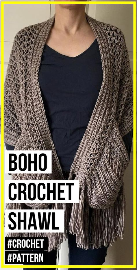 Boho Crochet Shawl with Pockets and Fringe pattern - easy crochet shawl pattern for beginners
