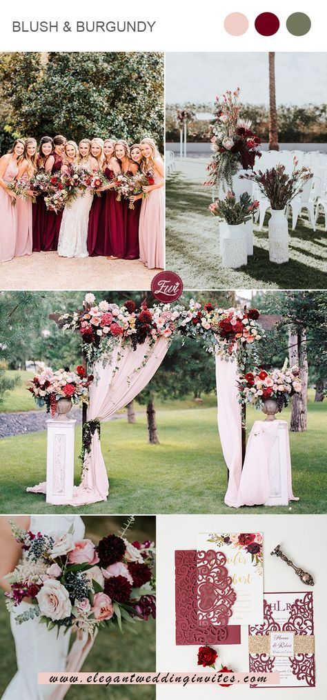 The sweetest blush has been really a good color choice no matter what season your wedding is in. It can match well with various elegant wedding colors, providing you a completely unforgettable wedding visual feast. October Wedding Colors, Elegant Wedding Colors, Burgundy And Blush Wedding, Winter Wedding Colors, Spring Wedding Themes, Blush Fall Wedding, Wedding In October, Colour Themes For Weddings, Wedding Colora