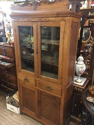 Primitive Antique Kitchen Oak Wood Pie Safe Jelly Cupboard Cabinet Glass Top Primitive Antiques Jelly Cupboard Antique Kitchen