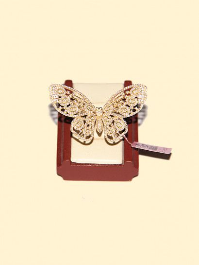 خاتم ذهب عيار 18 خاتم ذهب عيار 18 شكل فراشة Jewelry Jewelrymaking Love Women Ring Butterfly Accessories Belt Fashion