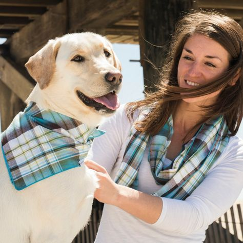 Our NANTUCKET dog bandana + matching human infinity scarf makes a great Mother's Day gift for all the dog momma's in your life.