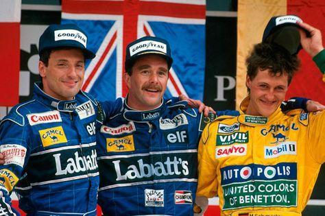 Подиум Гран При Мексики 1992 года: Риккардо Патрезе, Найджел Мэнселл и Михаэль Шумахер