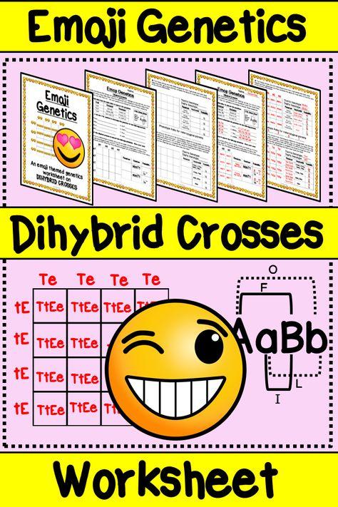 Emoji Dihybrid Cross Worksheet Emoji Genetics Double Punnett