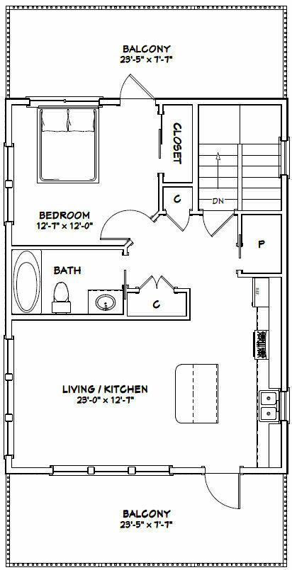 24x32 House 1 Bedroom 1 5 Bath 830 Sq Ft Pdf Floor Plan Model 8 29 99 Picclick Garage House Plans House Plan With Loft Cabin House Plans