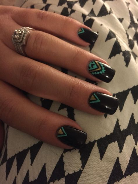 Love these Aztec nails! Black, mint and gold are the so in!You can find Tribal nails and more on our website. Love these Aztec nails! Aztec Nails, Teal Nails, Chevron Nails, Black Nails, Aztec Nail Art, Aztec Nail Designs, Nail Art Designs, Perfect Nails, Gorgeous Nails