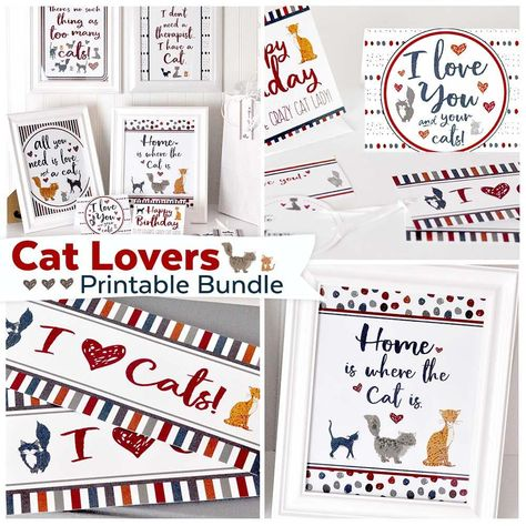 This adorable cat printable if a great gift for any cat lover (like my mom).  Colorful blue, red and yellow cat images just make ya smile Cat Lovers Printable Kit | Cat Art & Cat Lover's Card Bundle | Instant Download #printable #teepeegirl #ldsprintables #catlovers #cats #crazycatlady