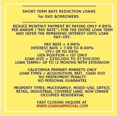 Short Term Loan For California Non Owner Occupied Properties No Personal Guarantee Term Loan Loan The Borrowers