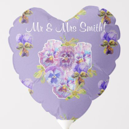 Purple Pansy Floral Watercolor Wedding Balloon Zazzle Com In 2020 Wedding Balloons Watercolor Birthday Birthday Balloons