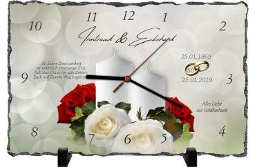 Goldene Hochzeit Rechteckige Schiefertafel Als Uhr Oder