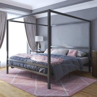 Avenue Greene Gia Metal Canopy King Bed Contemporary Canopy Beds