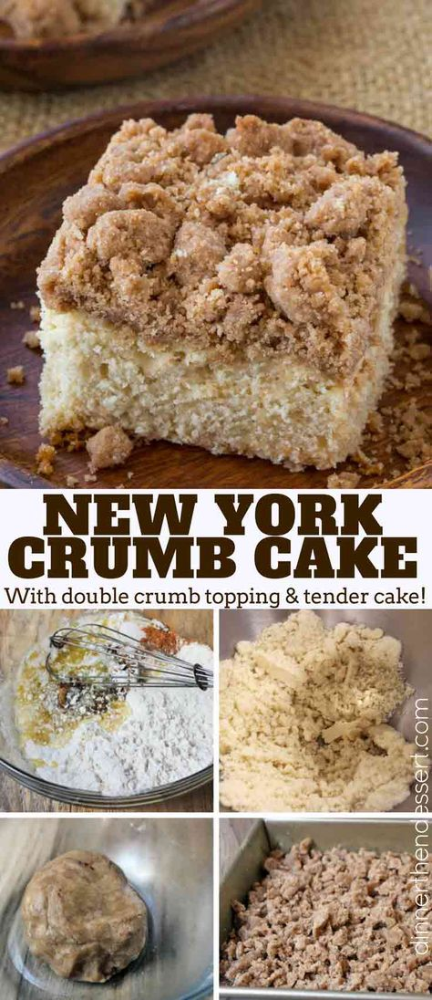 Classic New York Crumb Cake just like the kind you would find in your favorite coffee shop, a tender cake topped with large chunks of cinnamon sugar goodness!   #coffeecake #crumbcake #dessert #breakfast #newyorkcrumbcake #starbucks #brunch #holidays #easter #mothersday #christmas #coffee #coffeecake #dinnerthendessert