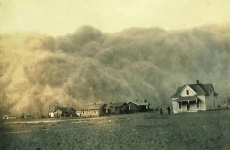 The Dust Bowl dust storm approaches Stratford, Texas, in 1935 The Dust Bowl, or the Dirty Thirties, was a period of severe dust storms causing major ecological and agricultural damage to American and Canadian prairie lands in the 1930s, particularly in 1934 and 1936. The phenomenon was caused by severe drought coupled with decades of extensive farming without crop rotation, fallow fields, cover crops or other techniques to prevent wind erosion.