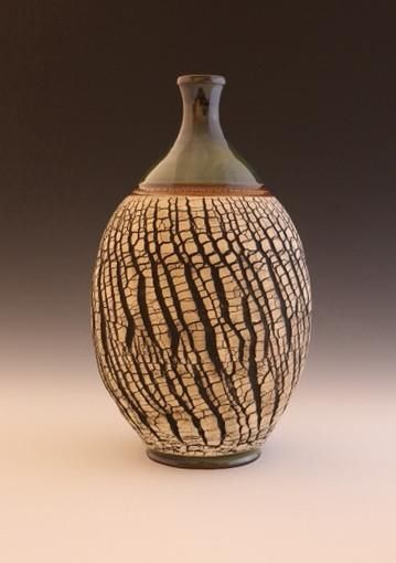 This Sleek 13 Inch Tall Vase With Its Contrasting Texture And Mid Range Glaze Will Make A Great Addition Ceramic Vases Decor Pottery Designs Flower Vase Design