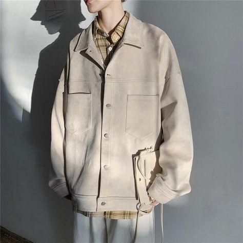 Autumn Tooling Jacket Men Fashion Solid Color Casual Jacket Coat Man Streetwear Wild Hip Hop Loose Bomber Jacket Man M-2XL - creamy-white / L