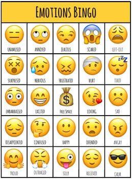 Emotions Bingo Emotions Cards Emoji Chart Emotions
