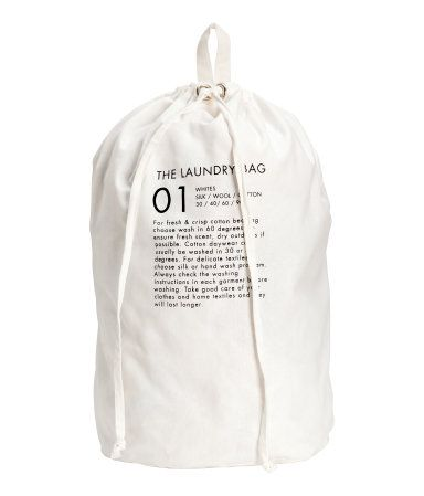 White Laundry Bag In Woven Cotton Fabric With A Printed Design
