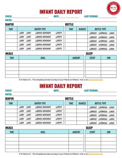 Daycare Infant Daily Report Keep track of bottles, solid feedings - daily report template word