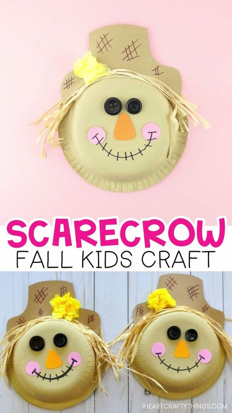 Paper Bowl Scarecrow Craft -Super cute fall craft for kids! This fun and easy scarecrow craft is perfect for a fall kids craft and harvest kids craft.  #fall #fallcrafts #scarecrowcraft #kidscrafts #kidsactivities #autumn